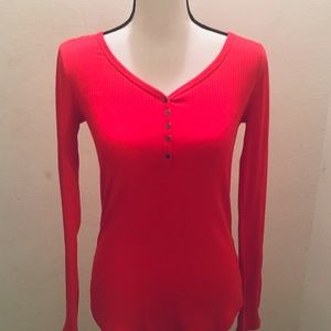 Sonoma Life & Style Women's Long Sleeve Red Henley
